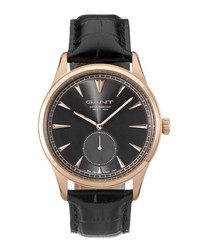 Rose gold-tone & black leather watch