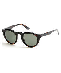 Havana & green rounded sunglasses