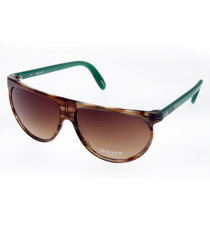 Brown & turquoise wide sunglasses