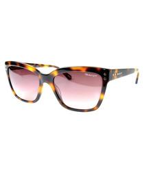 Havana & pink oversize sunglasses