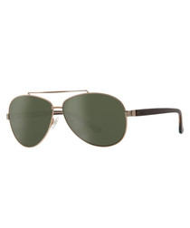 Green & gold-tone double-bar sunglasses