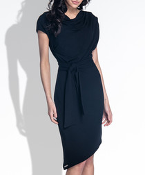 Black cotton blend asymmetric dress