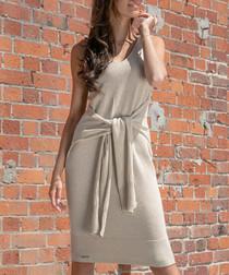 Beige cotton blend sleeveless dress