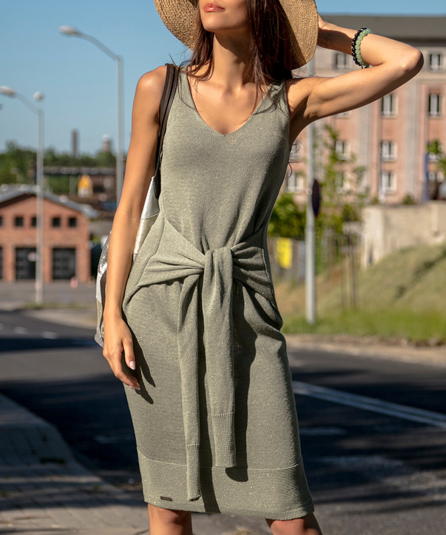 Olive cotton blend sleeveless dress Sale - fobya