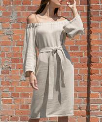Beige cotton blend off-shoulder dress
