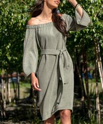 Olive cotton blend off-shoulder dress