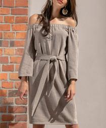 Mocha cotton blend off-shoulder dress