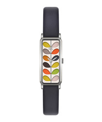 Navy steel & leather rectangle watch