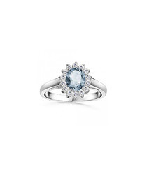 Aquamarine, diamond & white gold ring