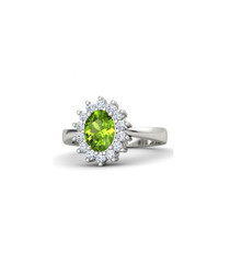 Peridot, diamond & white gold ring