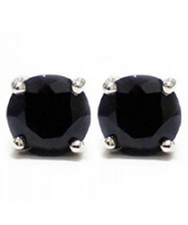 1.4ct black sapphire stud sterling silver earring