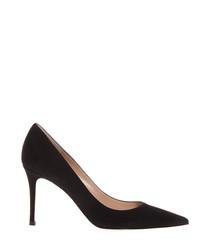 Women's black suede stiletto heels