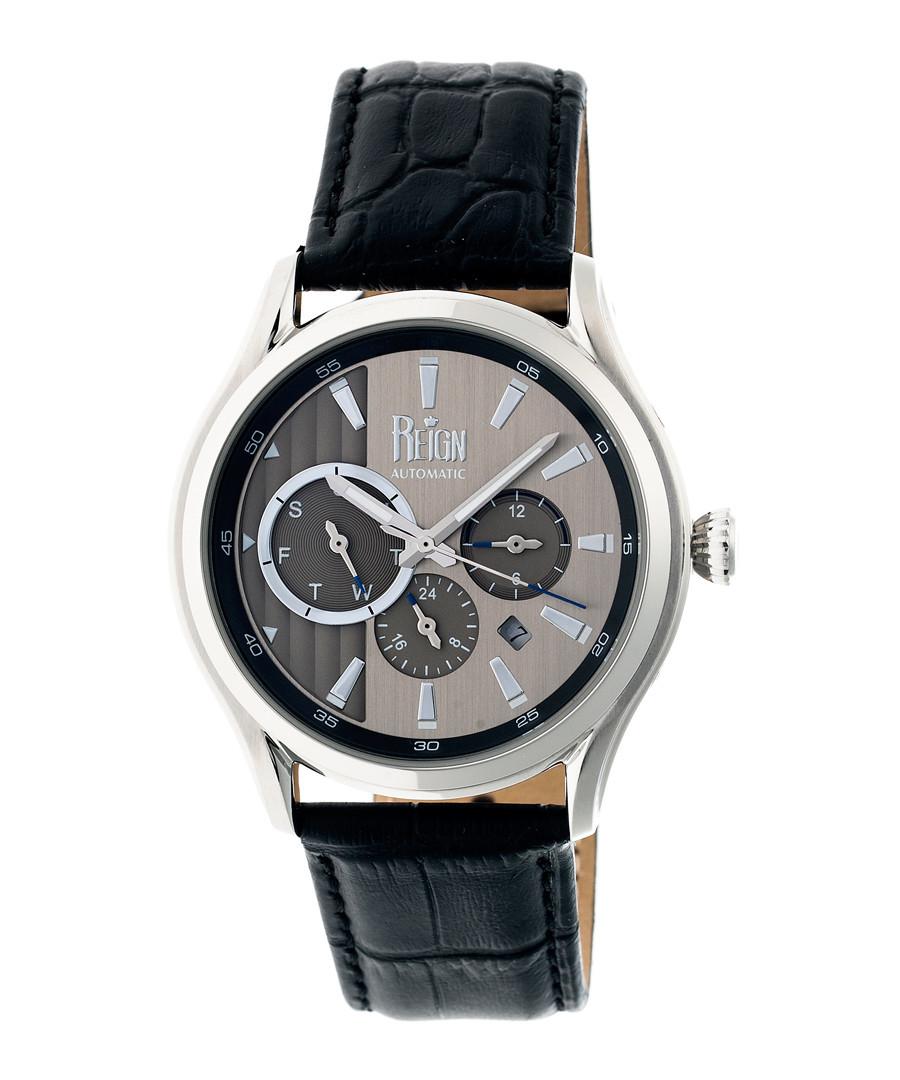 Gustaf silver-tone & black leather watch Sale - reign