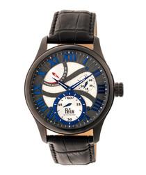 Bhutan dark brown leather watch