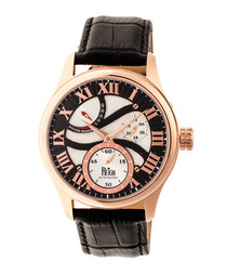 Bhutan rose gold-tone & leather watch