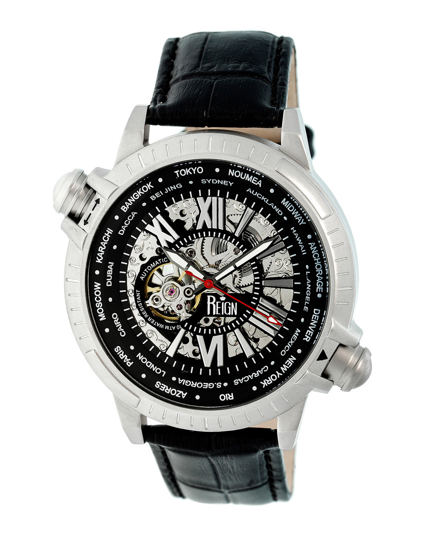 Thanos silver-tone & black leather watch Sale - reign