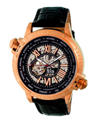 Thanos rose gold-tone & leather watch
