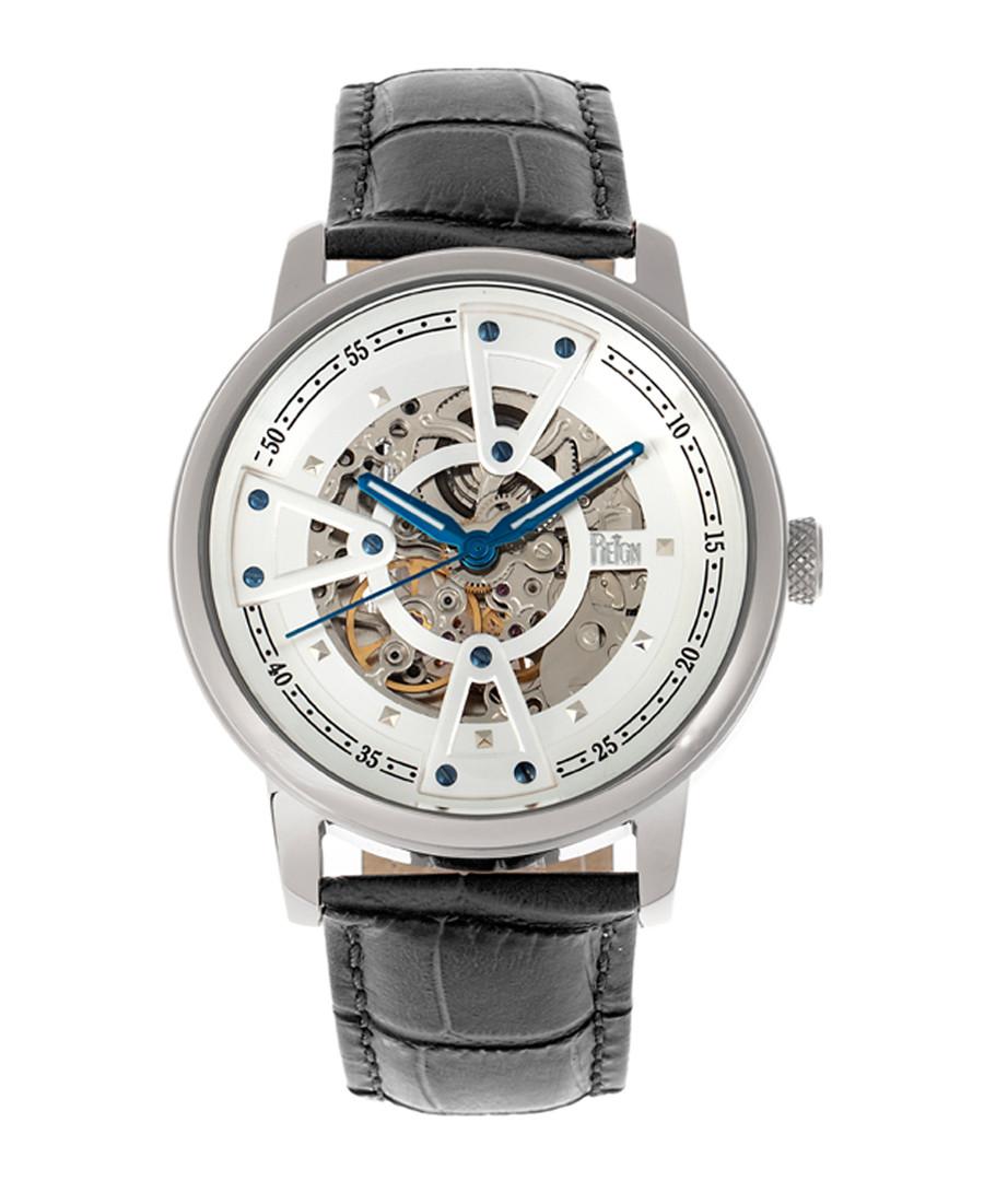 Belfour steel & black leather watch Sale - reign