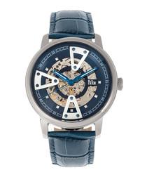 Belfour steel & navy leather watch