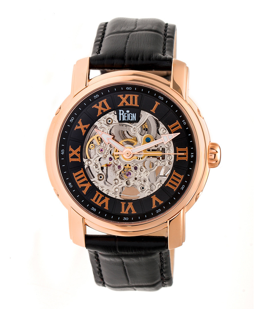 Kahn rose gold-tone & leather watch Sale - reign