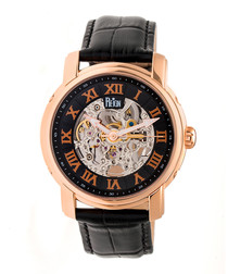 Kahn rose gold-tone & leather watch