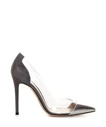 Women's grey leather stiletto heels