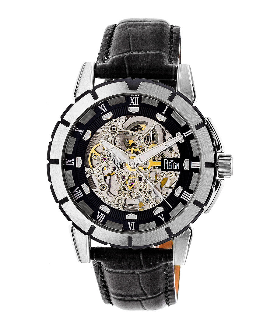 Philippe steel & black leather watch Sale - reign