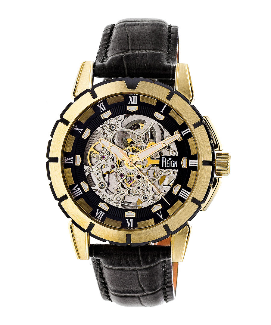 Philippe gold-tone & black leather watch Sale - reign
