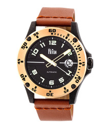 Emery gold-tone & brown leather watch