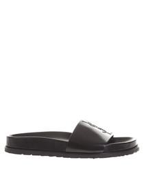 Women's black leather slider sandals