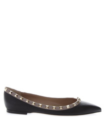 Black leather pointed ballet flats