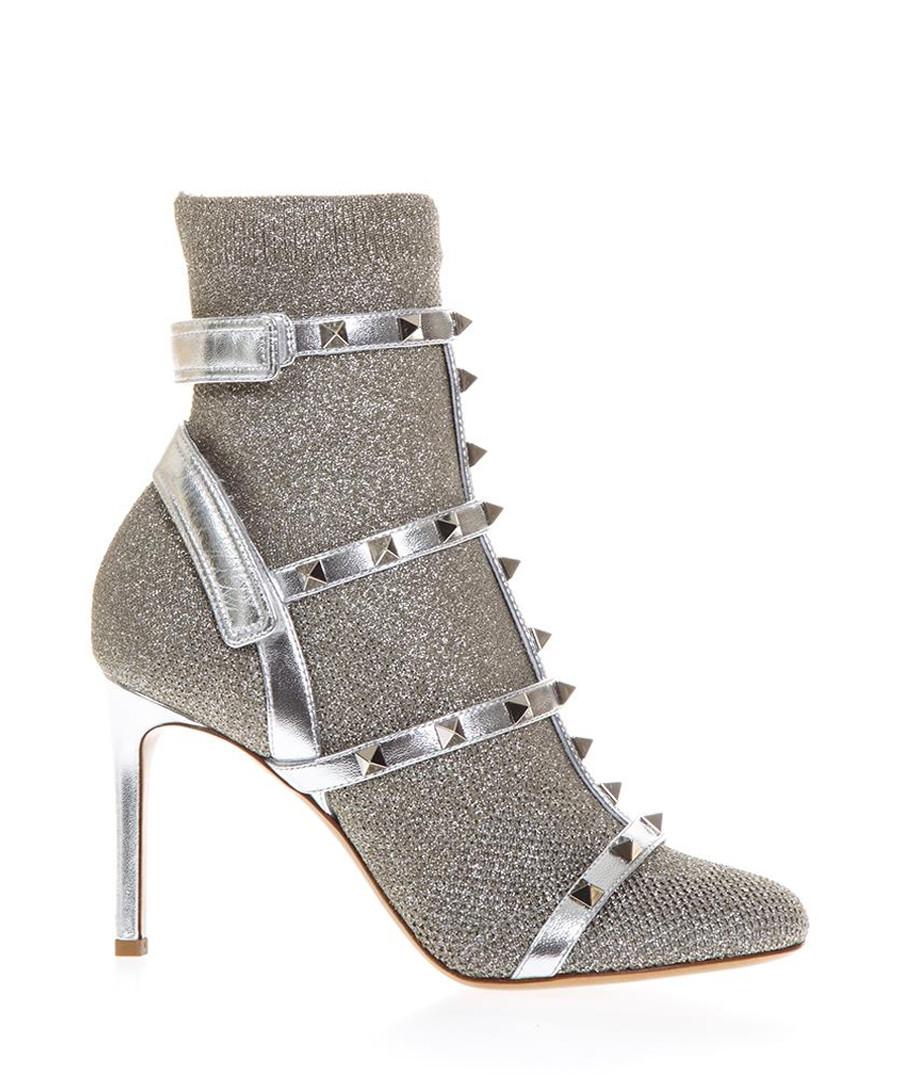Studded silver-tone leather sandals Sale - valentino garavani