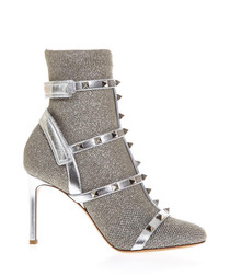 Studded silver-tone leather sandals