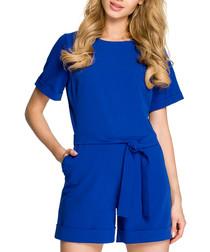 Royal blue short sleeve playsuit