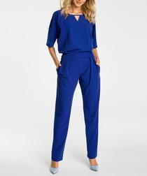 Royal blue cut-out short sleeve jumpsuit