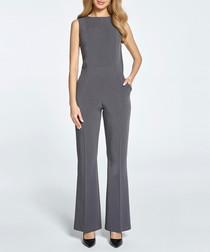 Grey sleeveless boat neck jumpsuit
