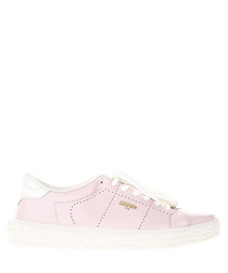 Pink leather tennis sneakers