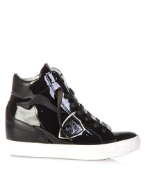 Patent black leather high top sneakers