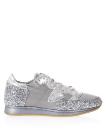 Tropez silver & glitter leather sneakers