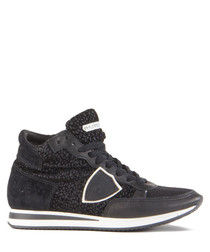 Tropez black leather high-top sneakers