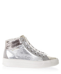 Faith silver-tone leather sneakers