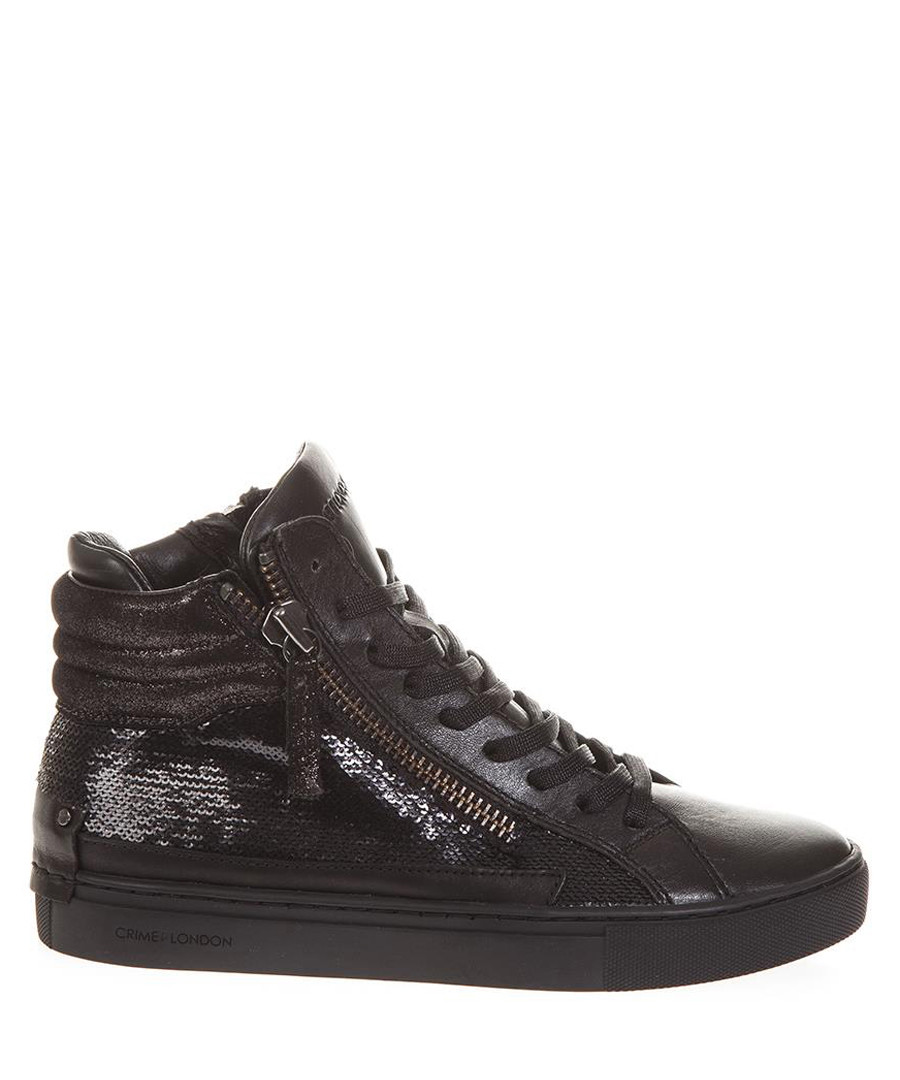 Black leather zip-effect sneakers Sale - crime london