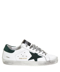 Superstar white & green leather sneakers