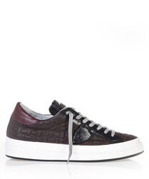 Brown leather platform lace-up sneakers