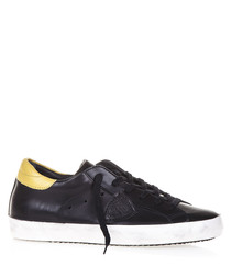 Black & yellow leather lace-up sneakers
