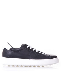 Blue & white leather lace-up sneakers