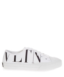 VLTN white canvas & leather logo sneakers