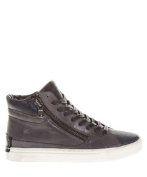 Grey & black leather high-top sneakers