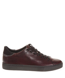Burgundy leather lace-up sneakers