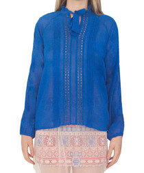 Stone royal blue georgette blouse